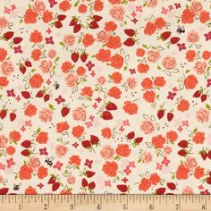 Michael Miller Strawberry Moon Roseberry Strawberry from @fabricdotcom  Designed by Sandi Henderson for Michael Miller Fabrics, this cotton print collection features gorgeous saturated prints that are perfect for quilting, apparel, and home decor accents. Colors include shades of pink, red, purple, green, and cream.