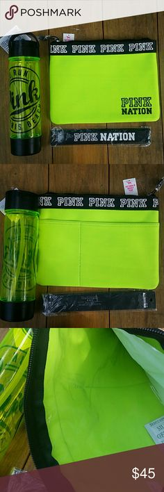 "VS PINK Neon Green Bikini Pouch Bag & Accessories The bikini pouch bag, headband, & Campus waterbottle are all NWT. They're a bright neon green/yellow color, black & white. There's pockets on the back of the bag, zipper on top, & a thick vinyl-like lining inside to make it waterproof- designed for carrying a wet swimsuit. The headband is black w/ ""PINK NATION"" in white. The waterbottle has a handle, built in storage compartment, & has some light scratching.  Sorry, but NO TRADES & don't ask…"
