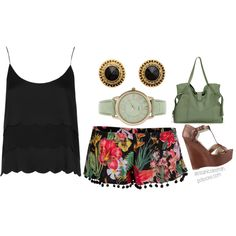 """""""Summer outfit with dressy shorts"""" by alyssanicolesmith on Polyvore"""