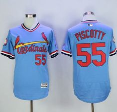 Cardinals #55 Stephen Piscotty Light Blue Flexbase Authentic Collection Cooperstown Stitched MLB Jersey