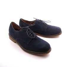 Bass Shoes Oxfords Vintage 1980s Blue Suede Leather Shoes Men's size 10