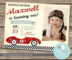 What a cute invitation to introduce your vintage race car theme! It includes photograph of your child. The best part is its a digital file