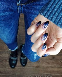 You own the powerful look and your blue nails will add to your personality strength. You can add beauty on your nails with Cute Dark Blue Nail Designs. Cute Nails, Pretty Nails, Hair And Nails, My Nails, Nail Manicure, Nail Polish, Dark Blue Nails, Nail Art Blue, Almond Nails