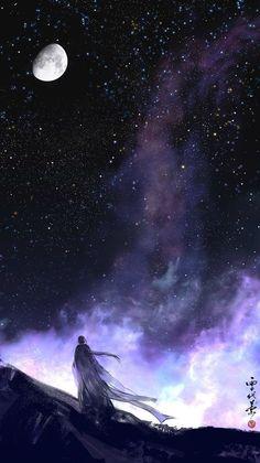 by xuedaixun on DeviantArt Night Sky Wallpaper, Anime Scenery Wallpaper, Galaxy Wallpaper, Wallpaper Backgrounds, Disney Wallpaper, Iphone Wallpaper, Fantasy Landscape, Fantasy Art, Theme Galaxy