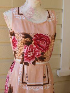 Peony Hazel Dress sz10. Dear Hazel. One of a kind, upcycled vintage fabric dress.