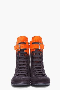 ANN DEMEULEMEESTER, ORANGE OMBRE SUEDE SNEAKERS: