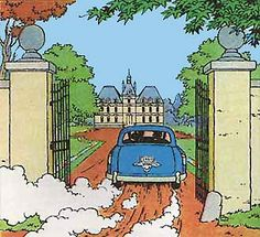 Destination Moon • the gates at the entrance to Marlinspike Hall • Tintin, Herge j'aime