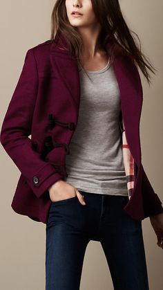 burberry, toggle detail pea coat: casually chic