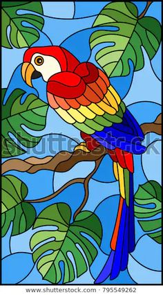 Illustration in stained glass style bird parakeet on branch tropical tree agains… – Glass Art Designs Stained Glass Paint, Stained Glass Birds, Stained Glass Designs, Stained Glass Patterns, Glass Painting Designs, Paint Designs, Glass Painting Patterns, L'art Du Vitrail, Bird Tree