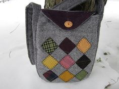 Recycled wool crossbody totebag by granniesraggedybags on Etsy, $29.00