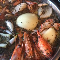 Roasted shrimp shells are simmered all day in water seasoned with whole cloves, bay leaf, garlic, and vegetables in this stock to use as a base in seafood gumbos. Okra Gumbo, Seafood Gumbo, Roasted Shrimp, Baked Shrimp, Seafood Stock, Fish And Seafood, Korma, Biryani, Seafood Recipes