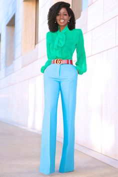 Tie Front Blouse + High Waist Wide Leg Trousers