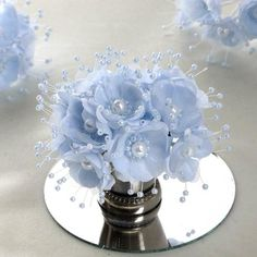 [About] Count: 12 bush per order. 6 roses per bush for a total of 72 roses Size: Tied on a. Cinderella Sweet 16, Cinderella Theme, Cinderella Wedding, Quince Centerpieces, Quinceanera Centerpieces, Wedding Centerpieces, Blue Orchid Centerpieces, Sweet 16 Centerpieces, Blue Party Decorations