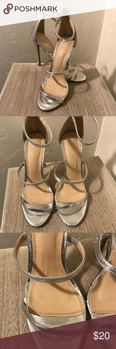 "Strappy silver heels Venus brand 4"" heels. Silver and strappy. Zipper in the back. VENUS Shoes Heels"