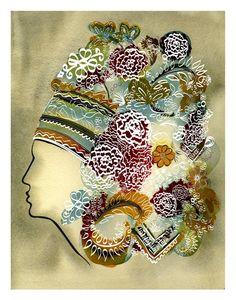 #Ukrainian Headdress watercolour/digital print, $50