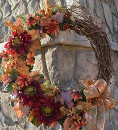Fall Wreath Harvest Wreath Sunflower Wreath by TheBloomingWreath Red Sunflowers, Sunflower Wreaths, Fall Flowers, Fall Wreaths, Porch Decorating, Rowan, Winter Season, Gourds, Front Porch