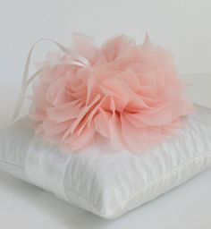 Wedding Ring Pillow- Lindsey Collection shown in Soft White and Pale Pink…