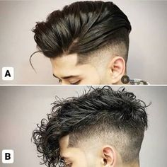 A atau B guys? All credit to respective owner ! Male Curly Hair, Bald Hair, Long Curly Hair, Cool Haircuts, Haircuts For Men, Cool Hairstyles, Trending Hairstyles, Hair And Beard Styles, Curly Hair Styles