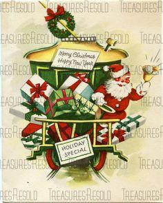 Retro Santa Trolley Delivery Christmas Card 352 by TreasuresResold