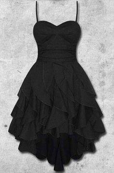 Cute black chiffon sweetheart prom dress