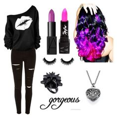 """""""Gorgeous"""" by lamalover123467 ❤ liked on Polyvore featuring River Island, Leg Avenue, NARS Cosmetics and Eddie Borgo"""