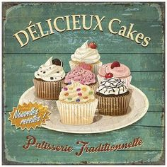 Délicieux cakes Art Print by Bruno Pozzo at Art.com