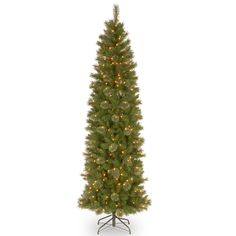 """Tacoma 7'6"""" Green Pencil Pine Artificial Christmas Tree with 350 Clear Lights and Stand"""