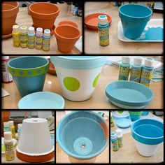 Another paint I want to share with you are DecoArt Patio Paints….show here: Spring is just around the corner and a perfect time to share these easy terra cotta pots I made…. MATERIALS: DecoArt Patio Paints(Coast Surf, Desert Turquoise, Citrus Green, and Cloud White) Americana …