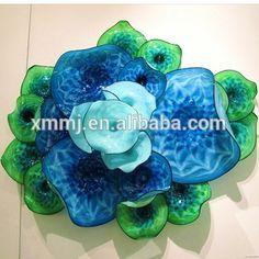 Decorative flower hand blown art hanging murano glass flower wall plate