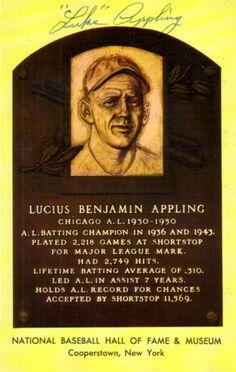 Luke Appling autographed Baseball Hall of Fame plaque postcard ...