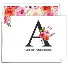 Floral Initial Foldover Note Cards