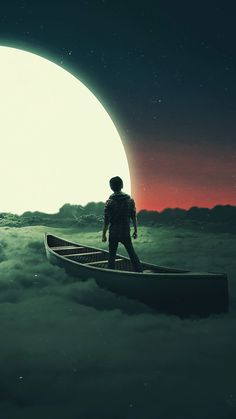 Sail to the moon, clouds, boat, art, wallpaper Galaxy Wallpaper, Cellphone Wallpaper, Nature Wallpaper, Wallpaper Backgrounds, Alone Photography, Dark Photography, Creative Photography, Anime Scenery, Moon Art