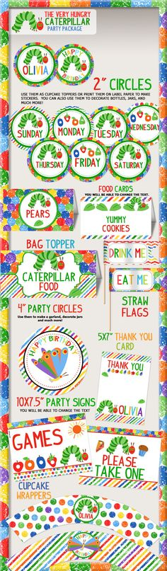 The Very Hungry Caterpillar Birthday Party Printable by PNArt