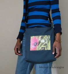 Large Hip Tote w/Floral Print by lstonerockdesigns on Etsy, $35.00