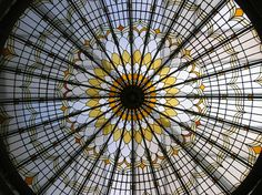 stained-glass ceiling lantern at Bishopsgate Library