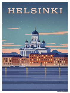 Vintage Illustrations Image of Helsinki Poster - Size - Size includes a inch white border around the artwork. Digital Print on 80 lb cover matte white Physical poster does. Pub Vintage, Photo Vintage, Poster City, Tourism Poster, Retro Poster, Poster Design, Art Deco Posters, Travel Illustration, Vintage Travel Posters