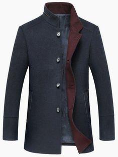 2fb9ecc50b Elegant Stand Collar Single Breasted Slim Fit Wool Overcoat For Men. Fashion  Revival