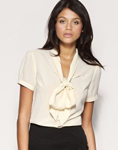 Tie Neck Blouses | Ties, Grey slacks and Feminine