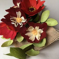 Crepe Paper Flower Bouquet Dahlias One of a Kind Gift