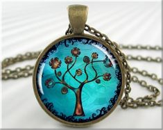 Tree Of Life Pendant Resin Necklace Tree Jewelry Turquoise Necklace Art Pendant Jewellery (324RB) on Etsy, $12.95