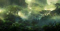 The amazing digital art of JonasDeRo Beginner's Guide to Digital Painting in Photoshop: Sci-fi and Fantasy (Preorder - Available by 30 August Fantasy Places, Fantasy World, Fantasy Art, Fantasy Landscape, Landscape Art, Forest Landscape, Landscape Wallpaper, Art Environnemental, Matte Painting