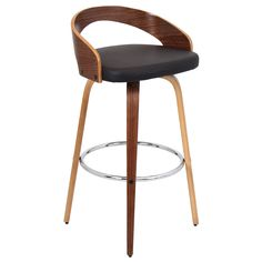 Lumisource Grotto Mid-century with Swivel Modern Barstool, Walnut/Brown