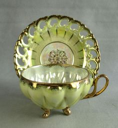 Royal Sealy Teacup and Saucer Iridescent 3 Toed Pierced Yellow Vintage Porcelain