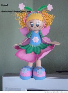 Fofucha flor con molde Princess Peach, Projects To Try, Fairy, Fictional Characters, 3d, Ideas, Feltro, Rag Dolls, Jelly Beans
