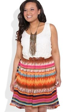 Deb Shops Plus Size High Low Dress with Lace Bodice and Belted Tribal Skirt