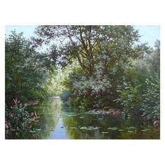 """""""Paysage à l'étang"""" by Charles Edmond René His (1877-1960)"""