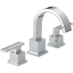 This ultra-modern bathroom faucet features sharp, eye-catching lines in a brilliant chrome finish, with easy-to-use lever handles and a high-arc spout for ample washing space. This environmentally friendly design is also WaterSense certified to reduce water waste.