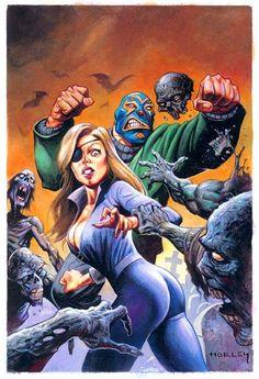 Suzi X & El Superbeasto, Alex Horley Zombie Kunst, Zombie Art, Rob Zombie, Retro Kunst, Retro Art, Fantasy Kunst, Dark Fantasy Art, Zombies, Pulp Fiction Kunst