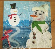 DIY Snowmen mixed media canvas art
