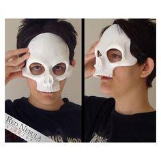 Human Skull Half Mask Blank, Resin Skeleton Mask, Halloween Mask, Grim... ❤ liked on Polyvore featuring home, home decor, skull home accessories, masquerade masks, skull home decor, halloween home decor and skeleton home decor